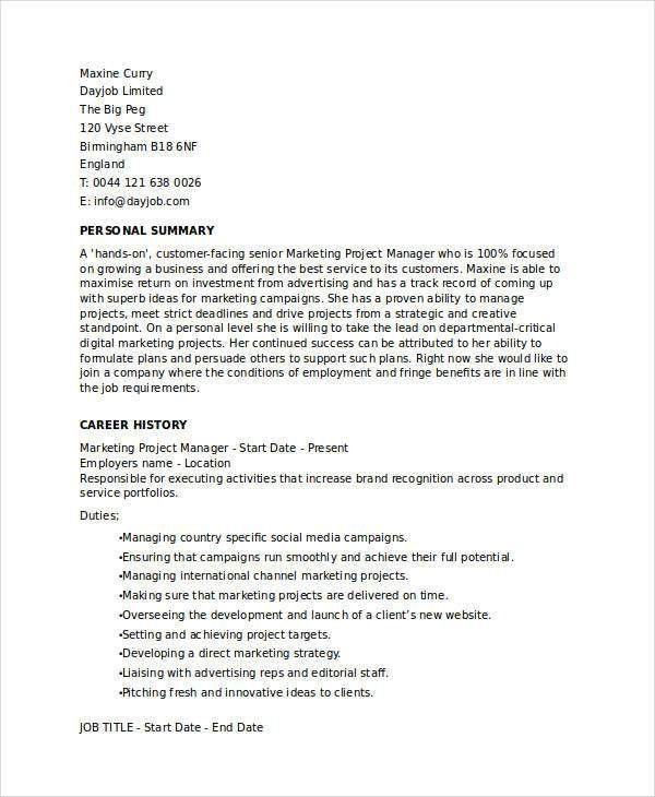 Free Marketing Resume Templates - 26+ Free Word, PDF Documents ...