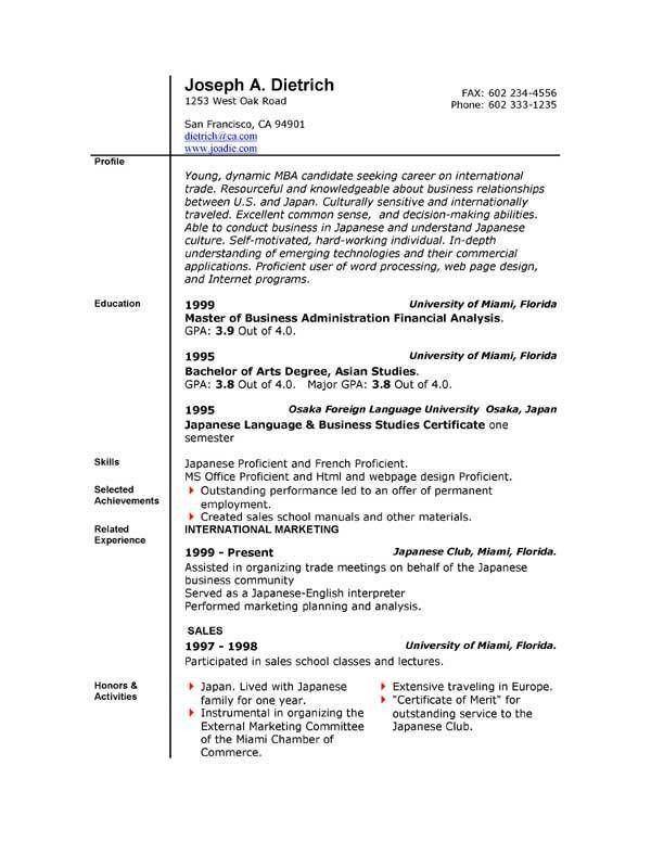 Resume Templates Microsoft Word 2007 | learnhowtoloseweight.net
