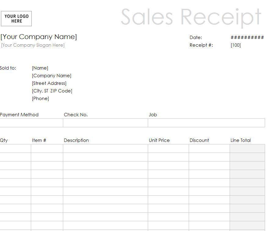 Sales Receipt Template Word | Word Sales Receipt Template