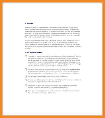 custody agreement template | art resume examples