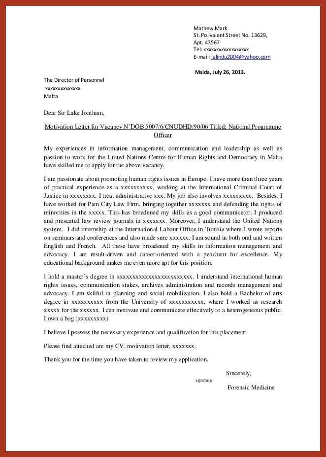 example of job letter | job proposal example