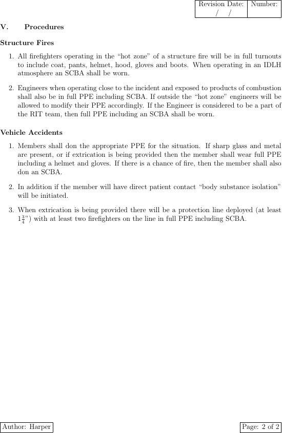 Template for Standard Operating Procedures? - TeX - LaTeX Stack ...