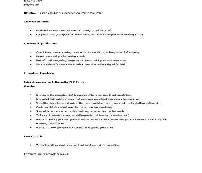 Sample Resume Caregiver Elderly. download caregiver resume samples ...