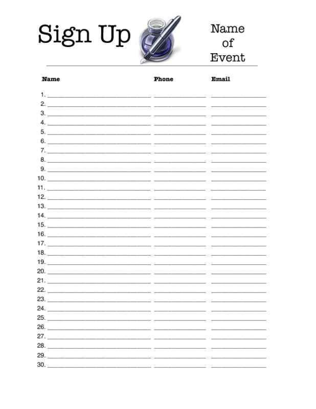 Sign up Sheet Clipart (69+)