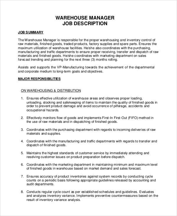 Sample Warehouse Job Description - 10+ Examples in PDF, Word