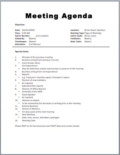 meeting agenda template word - thegreyhound