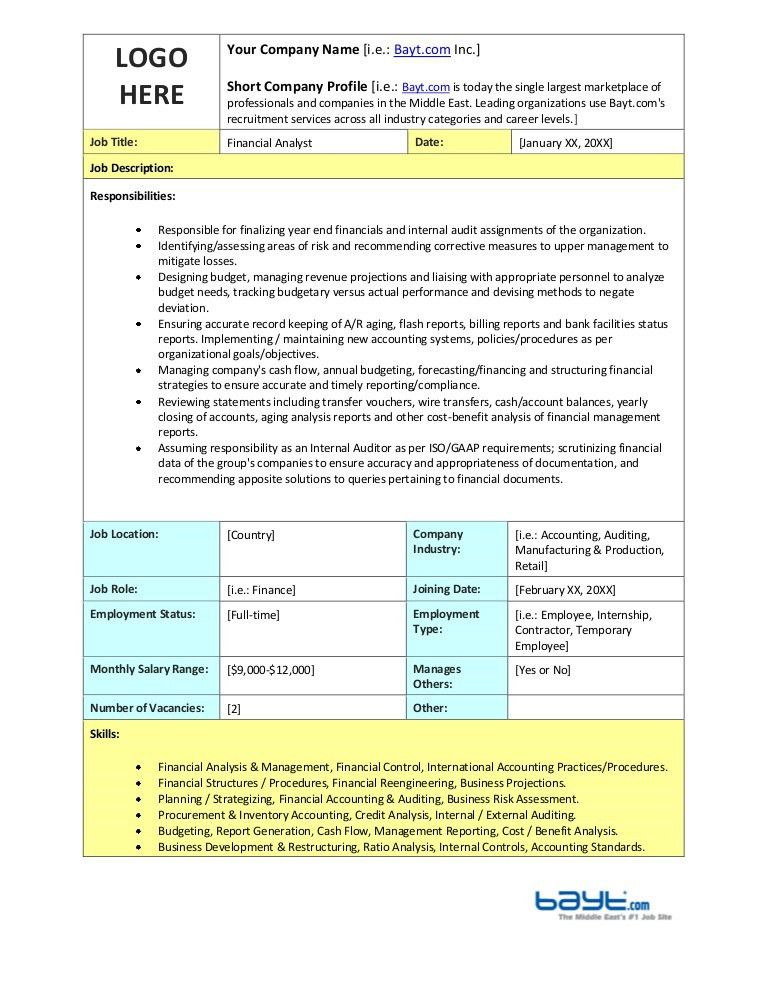Financial Analyst Job Description Template by Bayt.com