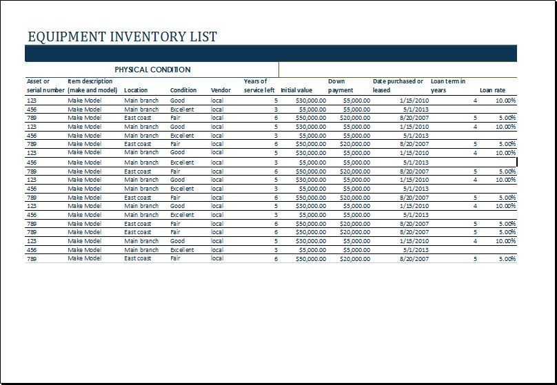 MS Excel Equipment Inventory List Template | Excel Templates