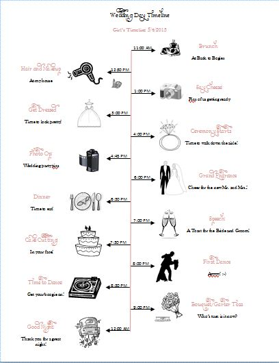 Wedding Day Timeline for the Girls Now with Template Link ...