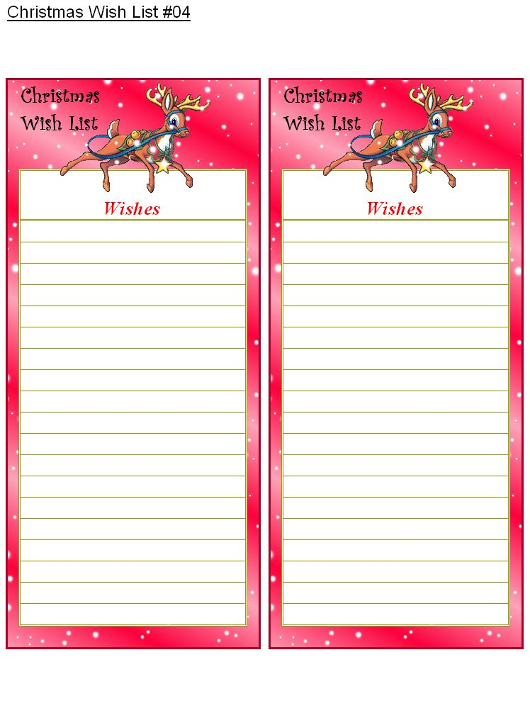 FREE Printable Christmas Wish Lists - Holiday Money Savers at Kid ...