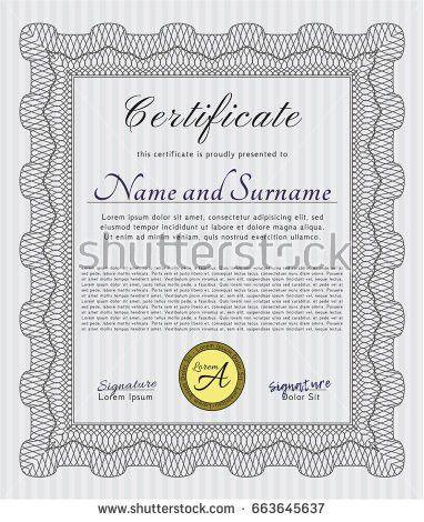 Certificate Diploma Template Elegant Golden Design Stock Vector ...