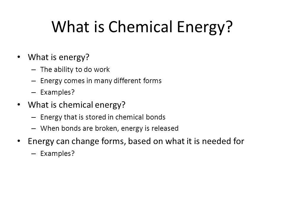 Chapter 8: Photosynthesis Energy and Life. What is Chemical Energy ...