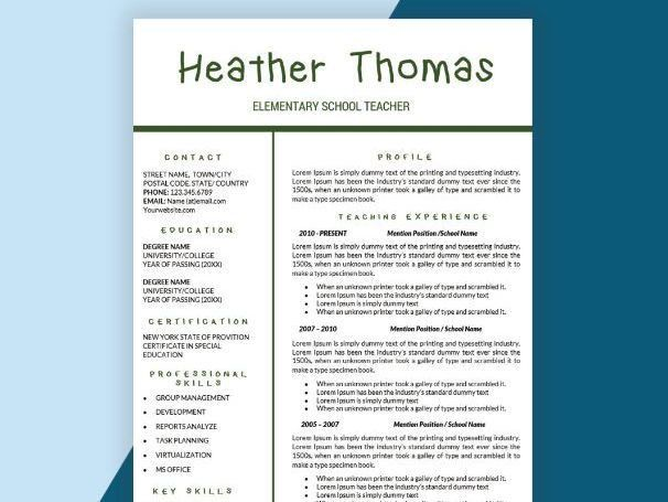 Teacher Resume, CV Templates, Teaching Resume Cover Letter Instant ...