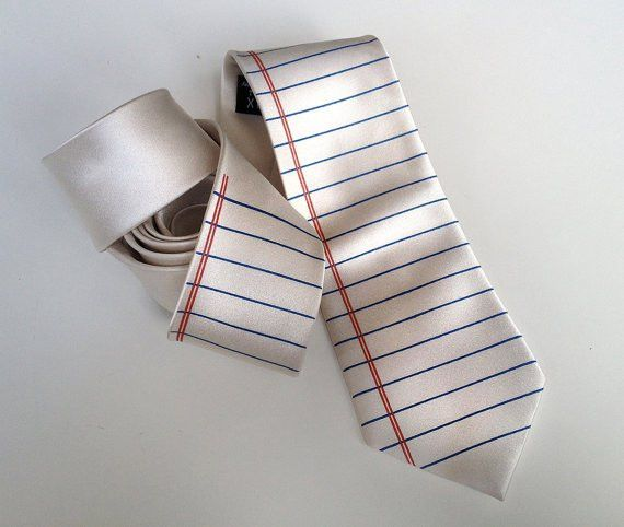 Notebook Paper necktie. College Ruled Wide Ruled lined paper