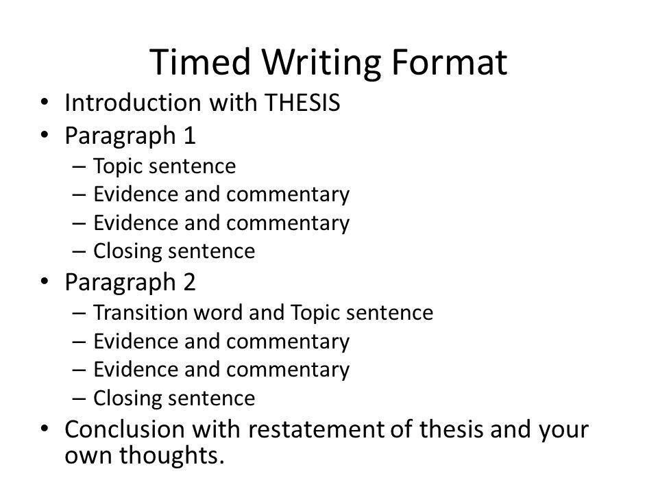 Timed Writing Examples. Timed Writing Format Introduction with ...