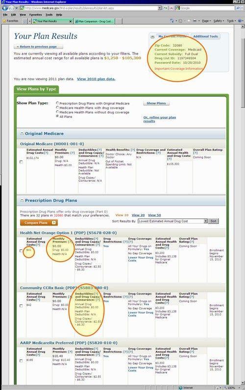 Medicare.gov Plan Finder Tutorial from Q1Medicare.com - Example ...
