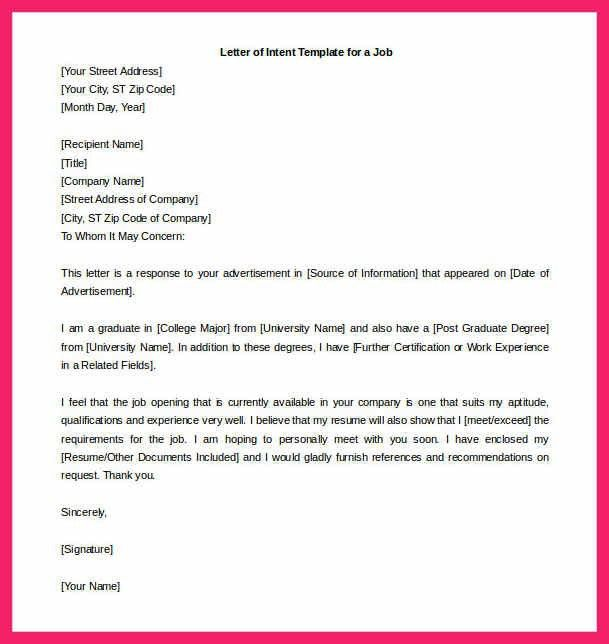 letter of intent for a job | bio letter format