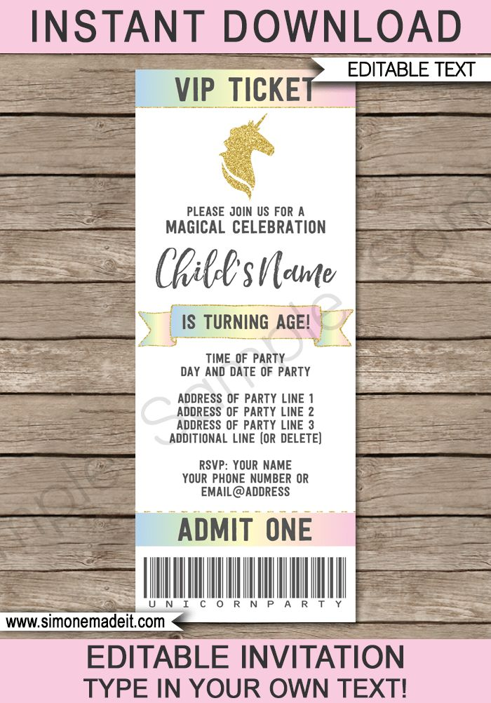 Unicorn Ticket Invitations Template | Unicorn Theme Birthday Party ...