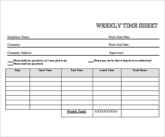 Free Timesheet Form  Timesheet Templates Free Sample Example