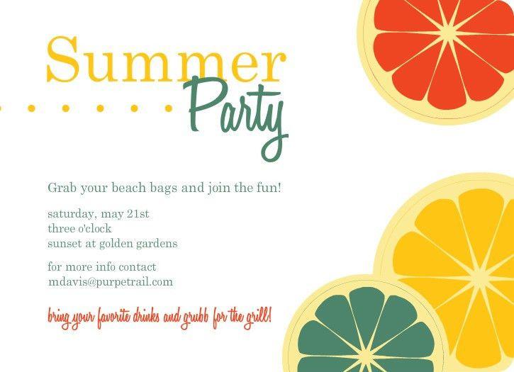 Colorful Citrus Fruit Summer Party Invitation | frutas | Pinterest ...