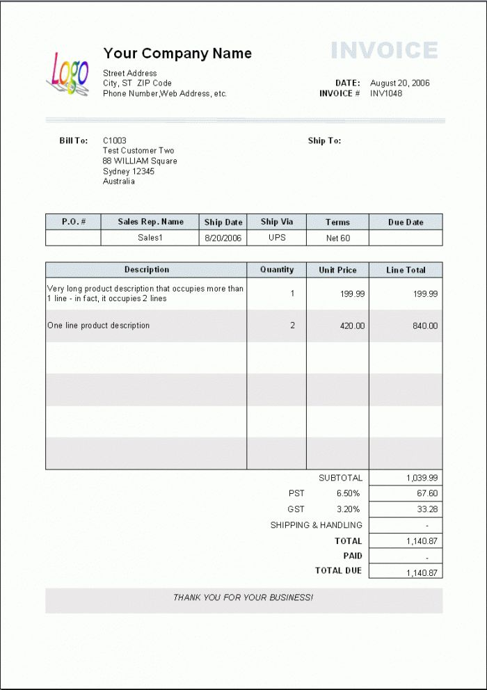 12+ Blank Invoice Templates - Word Excel PDF Formats