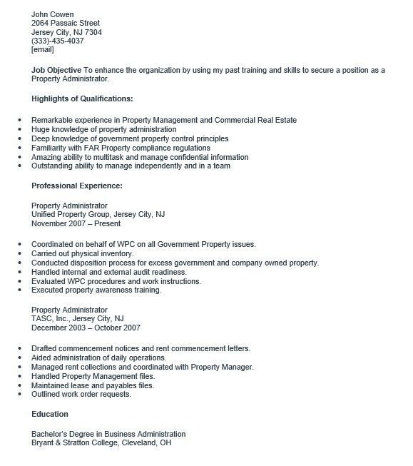 office administrator resume samples. property administrator sample ...