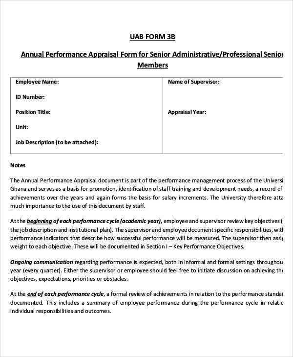 6+ Annual Performance Appraisal Form - Free Sample, Example ...