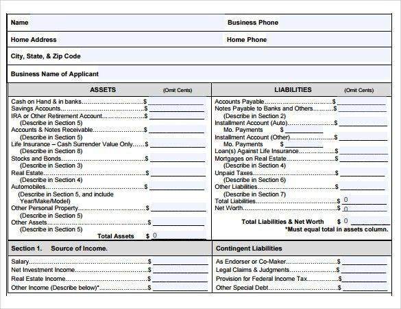 Personal Financial Statement Forms. Personal Financial Statement ...
