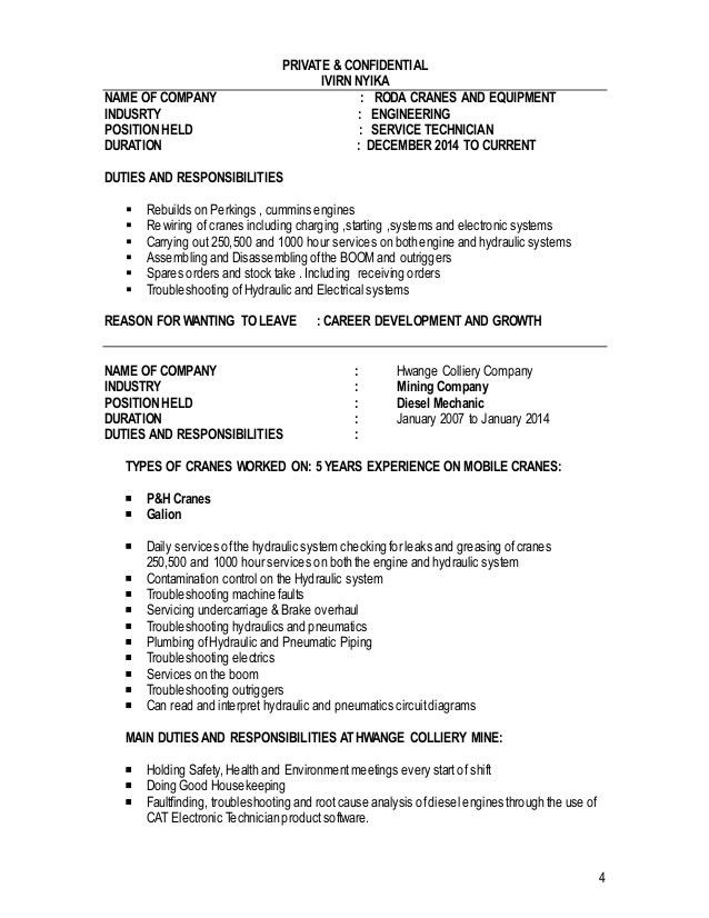 diesel mechanic job requirements electronics technician