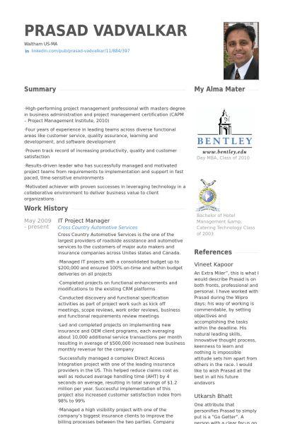 It Project Manager Resume samples - VisualCV resume samples database