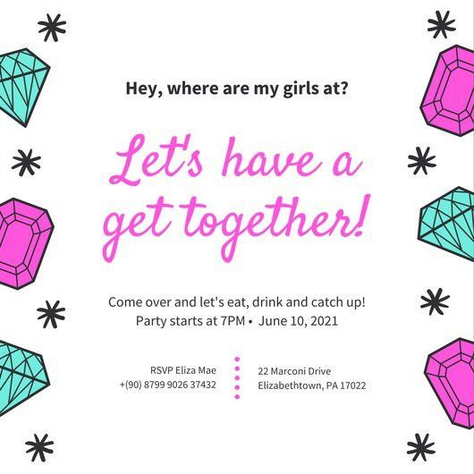 Pink Aqua Jewels Funky Get Together Invitation - Templates by Canva