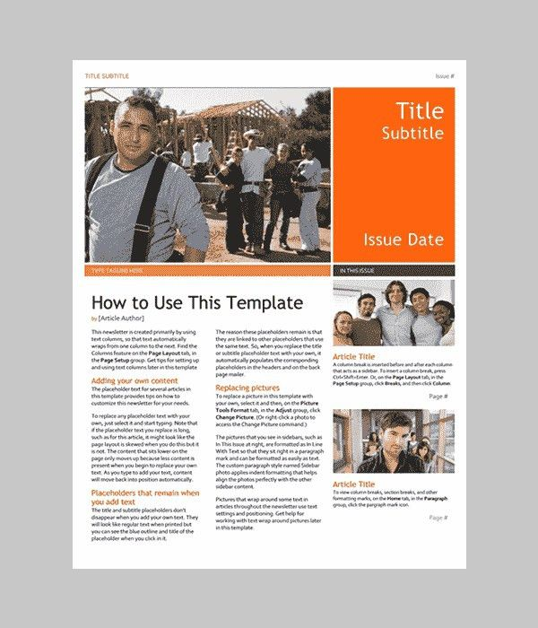 Free Newsletter Templates For Microsoft Word | Template Idea