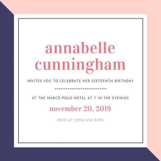 Simple Pink and Purple Sweet 16th Birthday Invitation - Templates ...