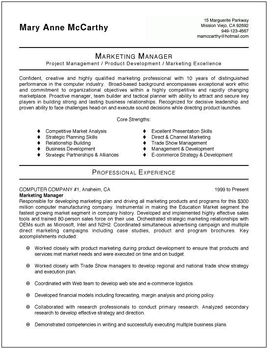 Marketing Resume Template | berathen.Com