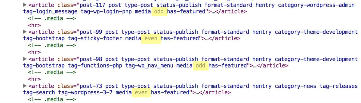WordPress Add Odd & Even Post Class to WordPress Post Listings