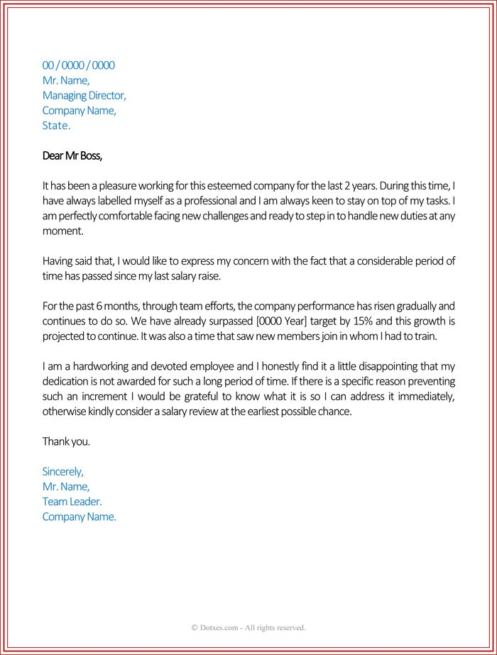 salary increase letter template