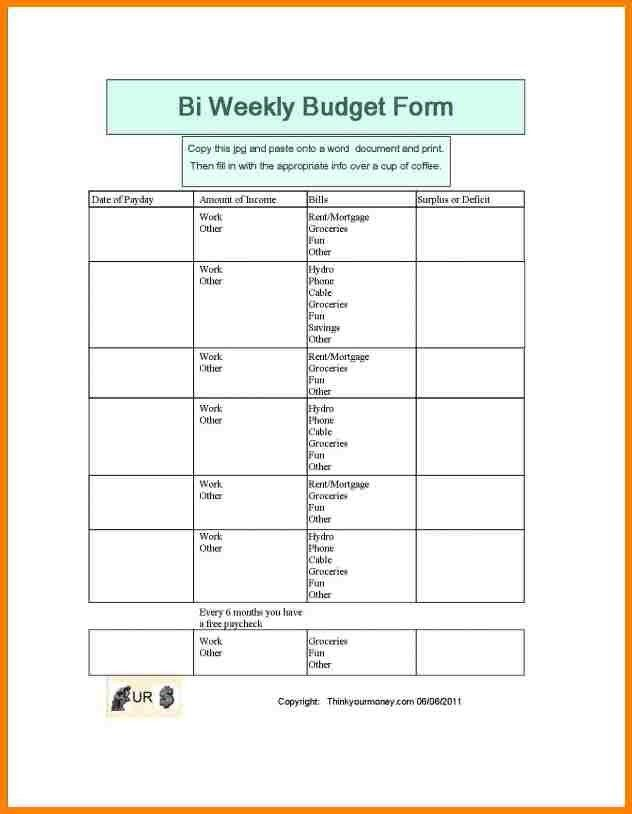 5vbi-weekly budget template | monthly bills template