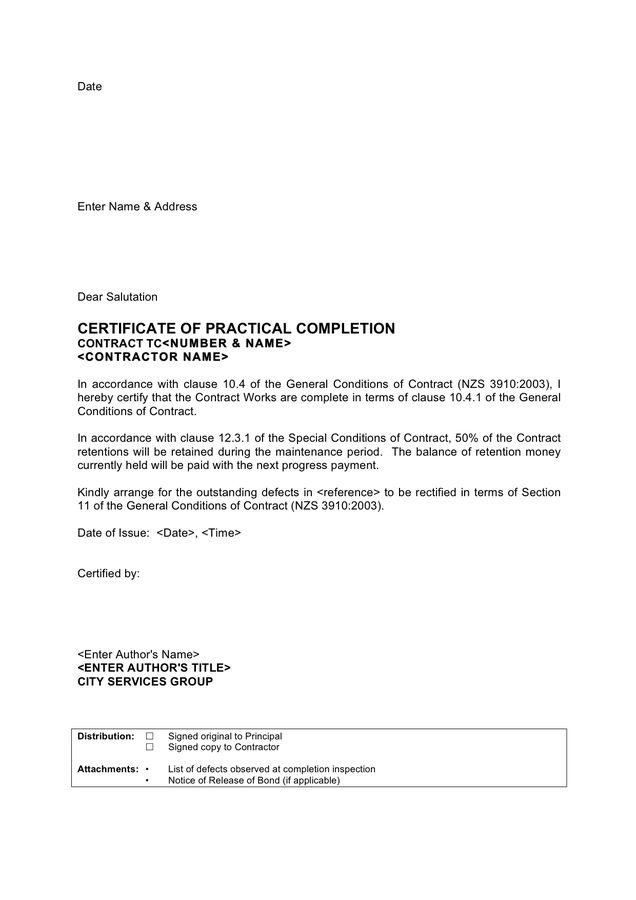 Certificate of Completion Template - download free documents for ...
