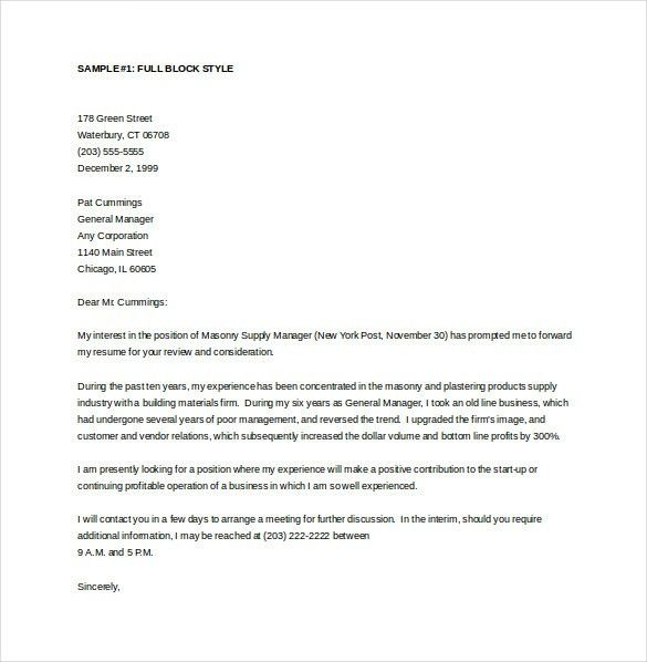 General Cover Letter Template – 11+ Free Word, PDF Documents ...