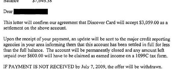 Discover Card Sample Debt Settlement Letter - Leave Debt Behind