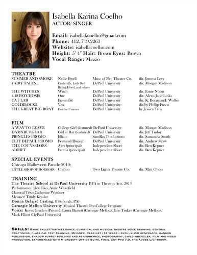 free acting resume samples and examples ace your audition ...