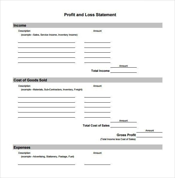Simple Profit And Loss Statement Template | Template Idea