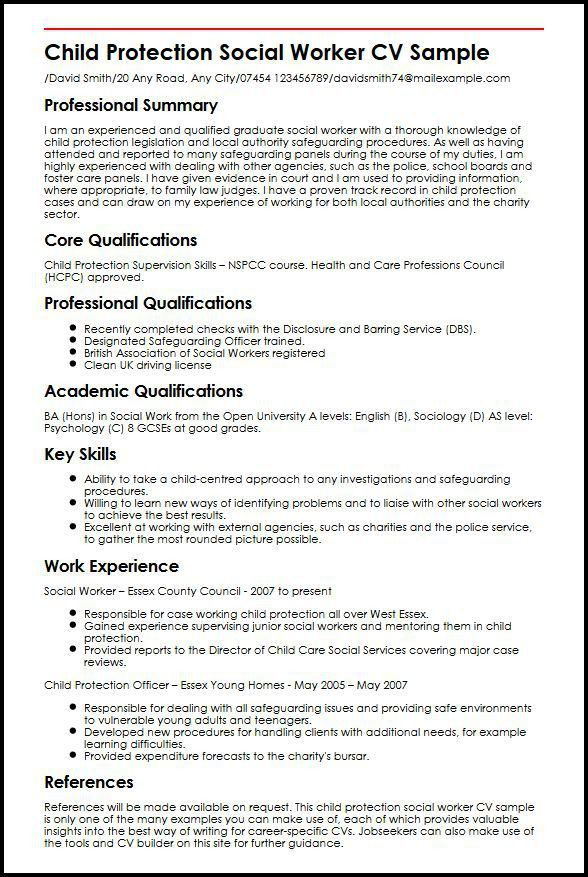 Child Protection Social Worker CV Sample | MyperfectCV
