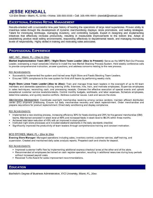 Job Resume: Retail Manager Resume Examples Retail Manager Resume ...