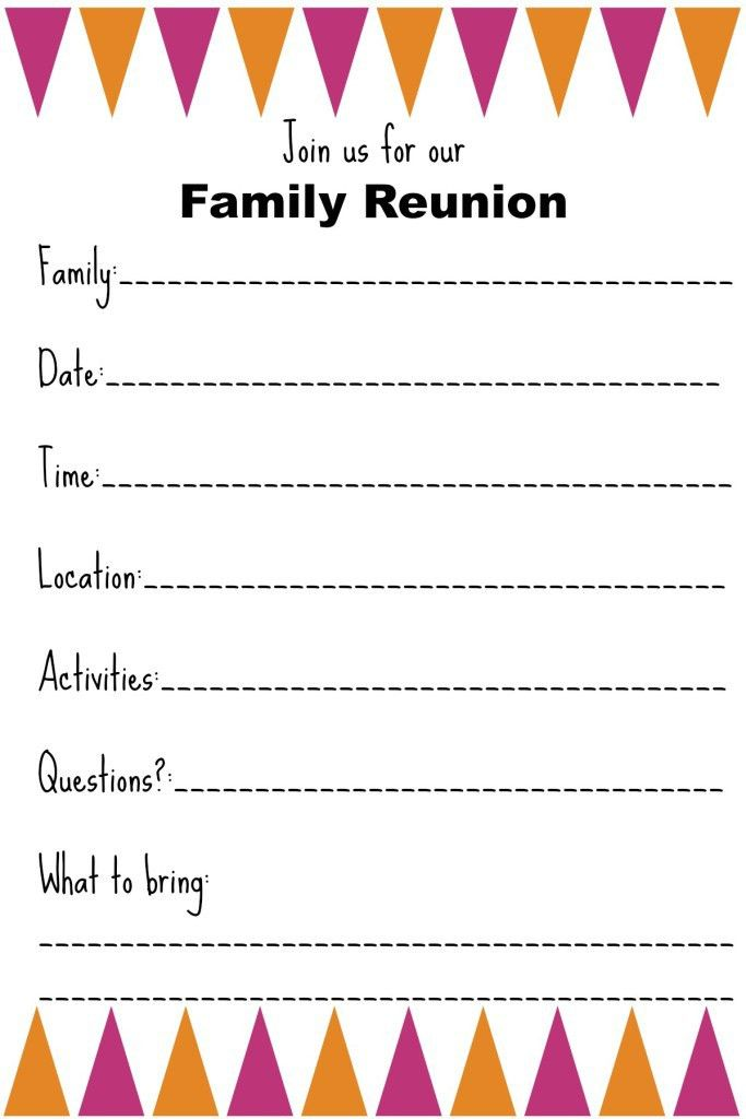 Family Reunion Invitation Templates - Ginny's Recipes & Tips