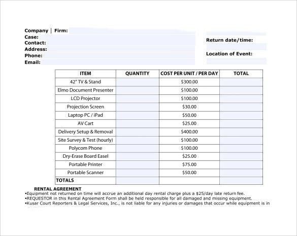 Equipment rental templates | Templates and Samples