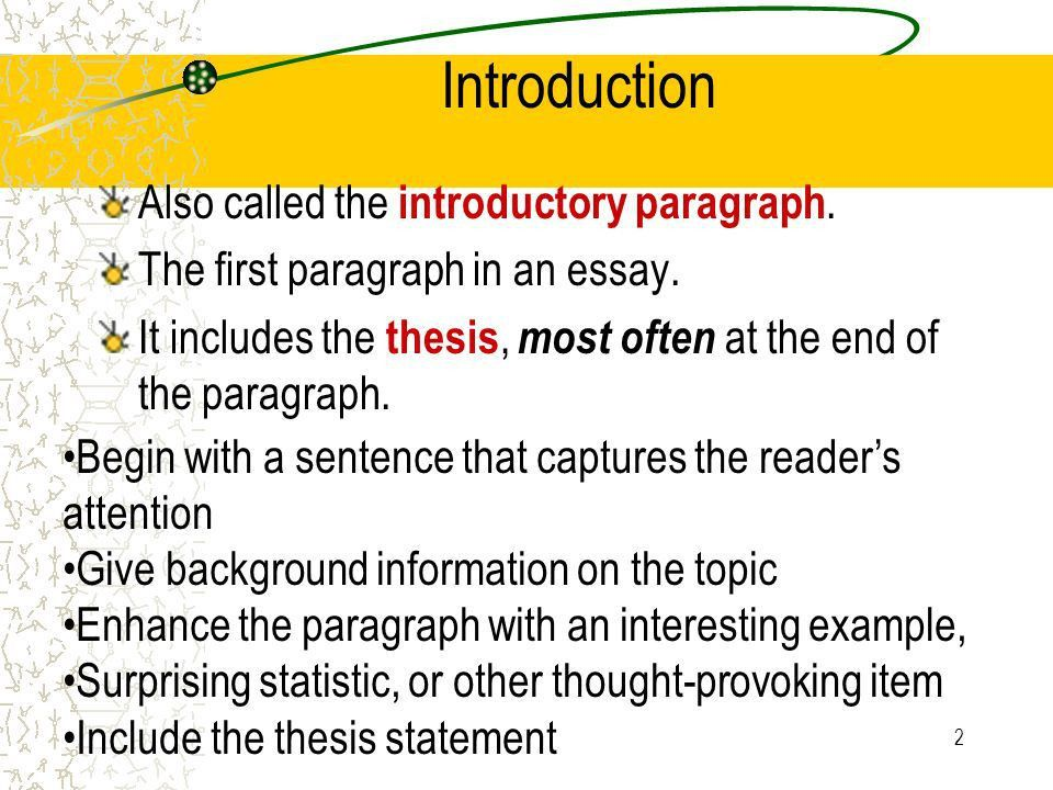 1 The Elements of An Excellent Essay Title Introduction Thesis ...
