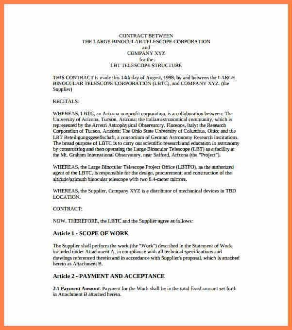 Contractual Agreement Template. Beautiful Simple Contract ...