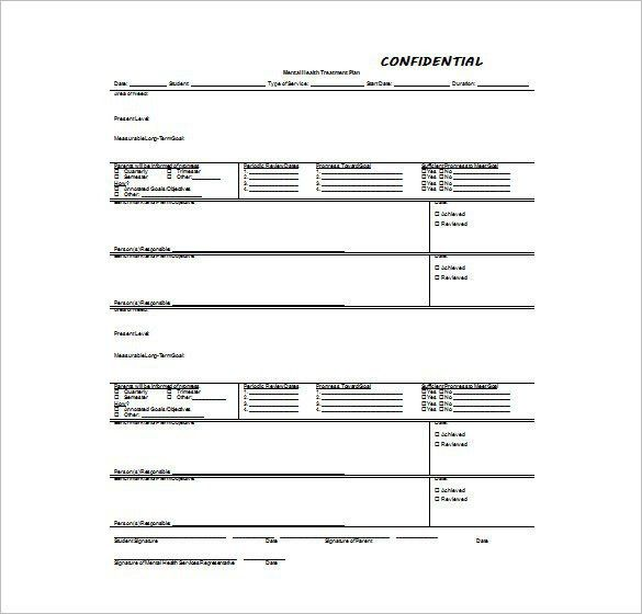 Treatment plan template 12 treatment plan templates free sample mental health treatment plan template template design pronofoot35fo Images