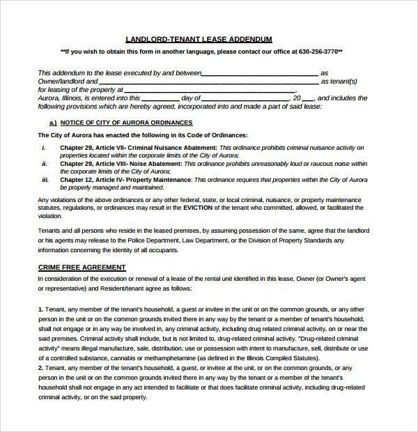 Lease Addendum Form